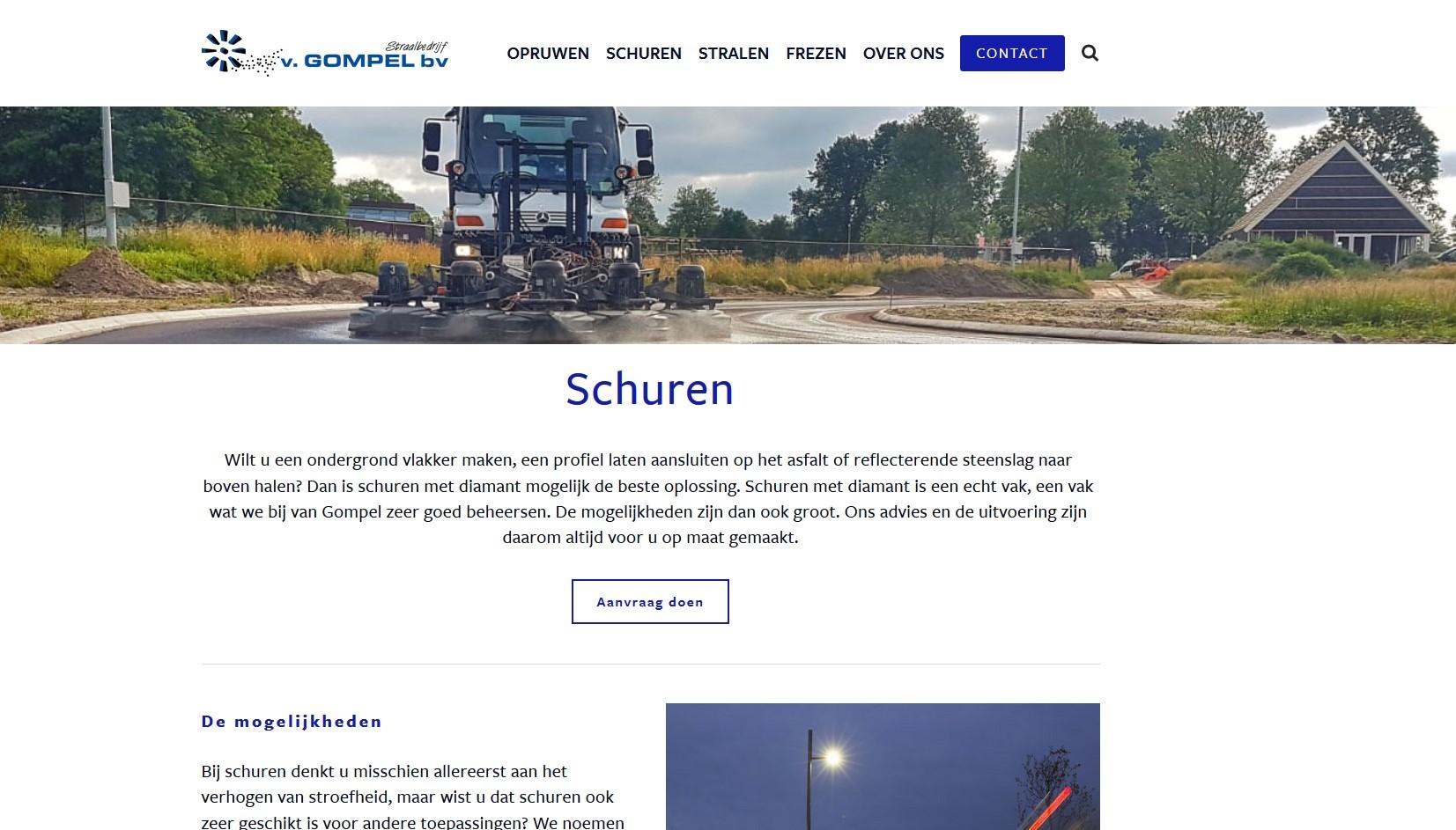 Voor van Gompel bouwde Meewind de gehele website, schreef alle teksten en zorgde voor brochuremateriaal.