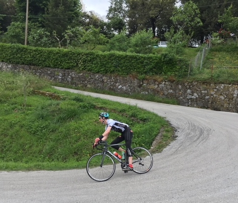 Physiotherapist Nathan Allwork out for a ride up in the Italian Alps