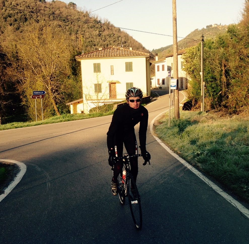 Physiotherapist Nathan Allwork from Move4 Physiotherapy cycling in Italy