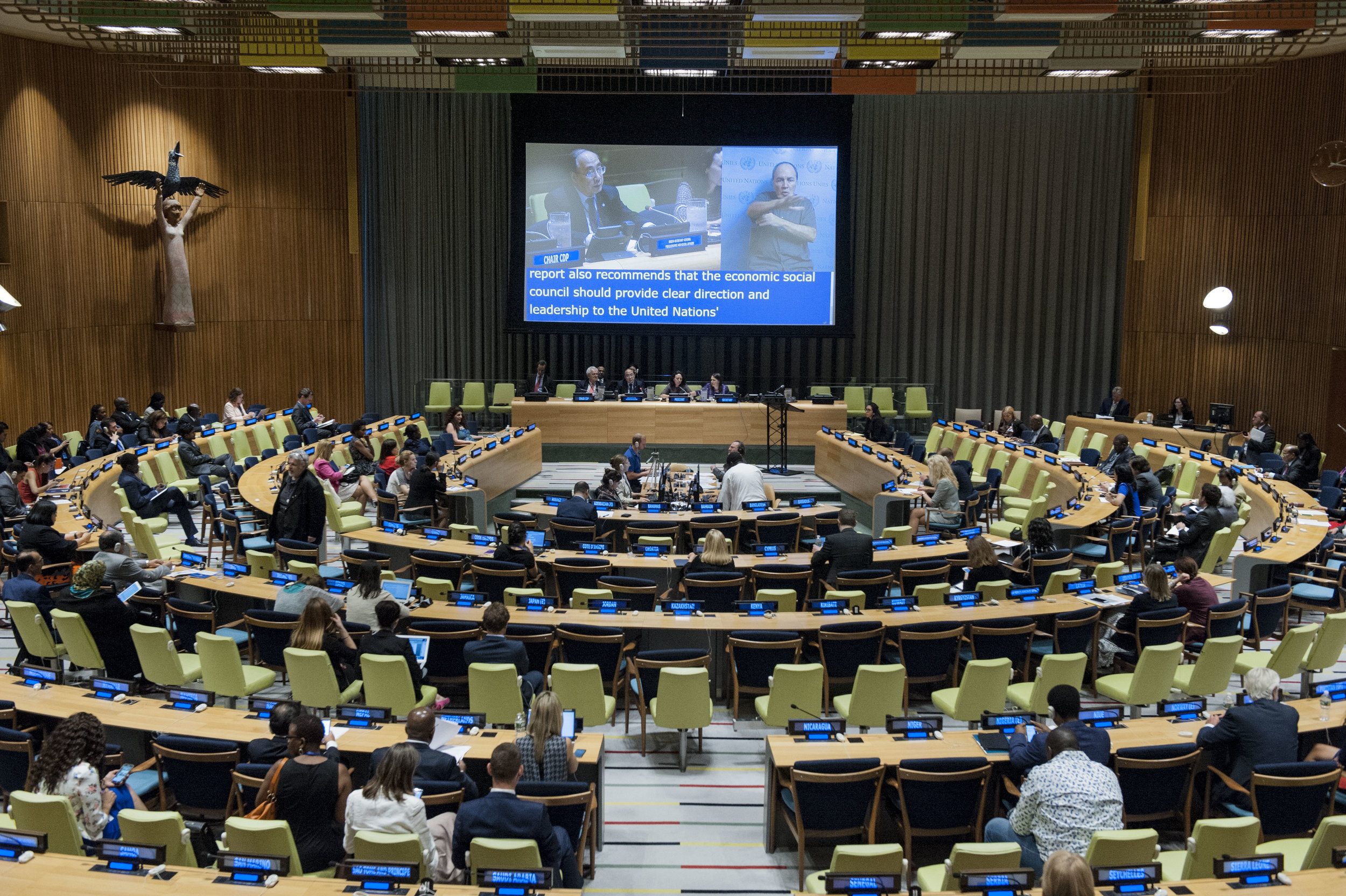 A wide view of a session of the three-day ministerial segment of the High-Level Political Forum on Sustainable Development, convened under the auspices of the Economic and Social Council (ECOSOC).  Photo courtesy of UN Photo.