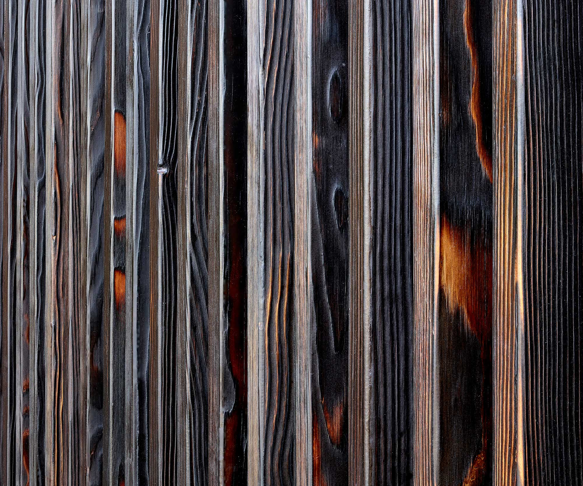 Charred Douglas Fir wall panelling.