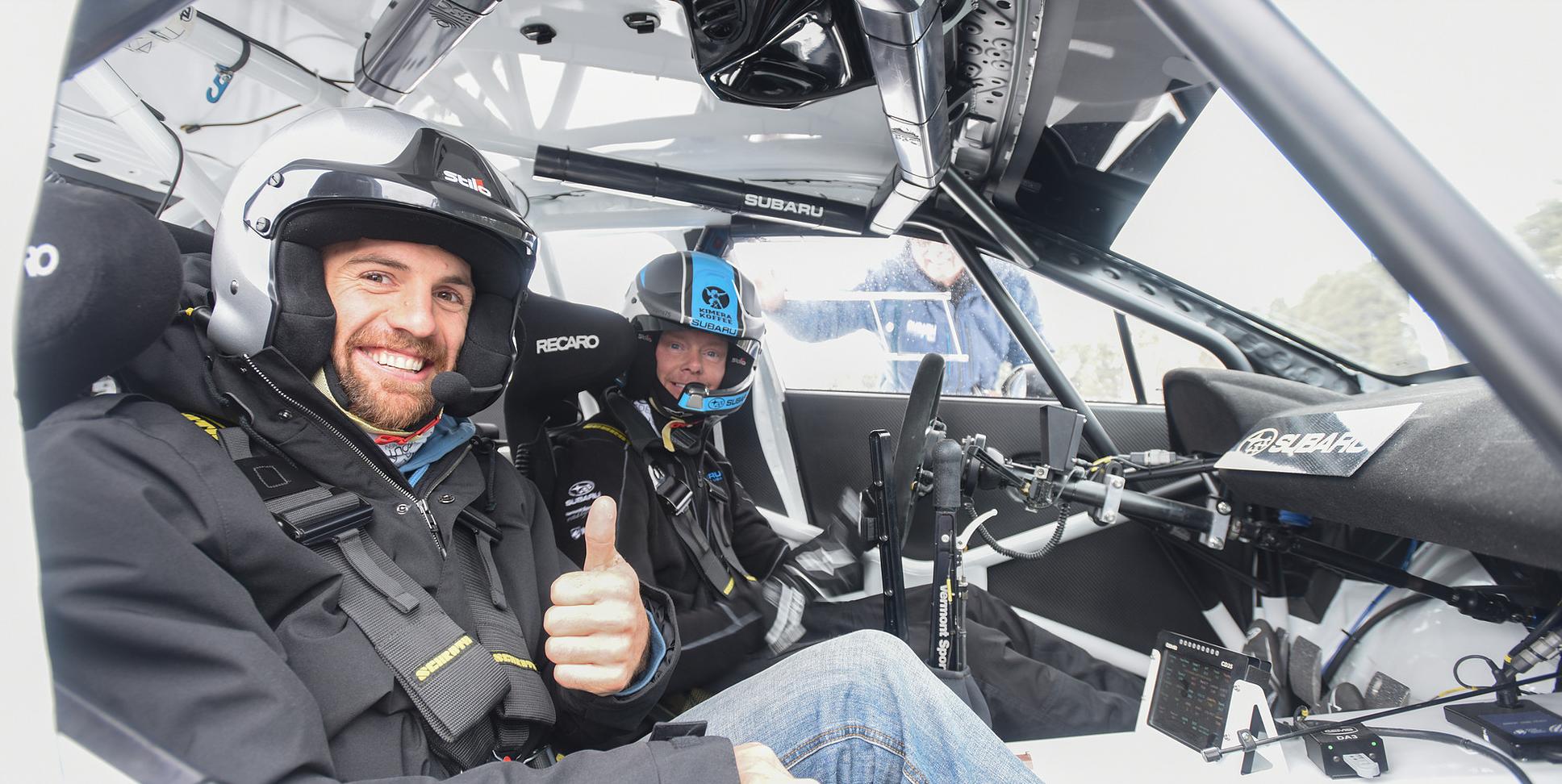 A passenger enjoys his 2018 Subaru Winter Experience with Patrik Sandell