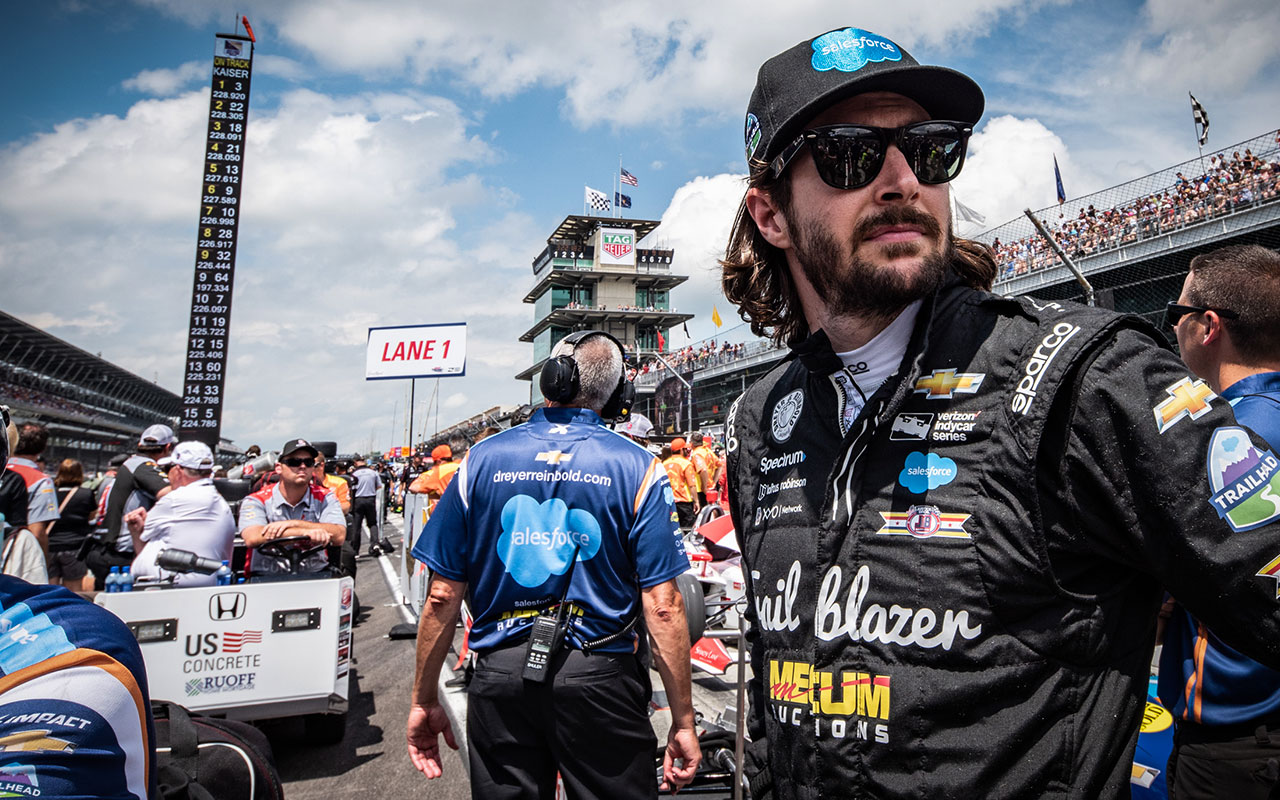 JR Hildebrand in the Indianapolis 500 Qualifying Line in 2018   Photo Courtesy of Indianapolis Motor Speedway Photography