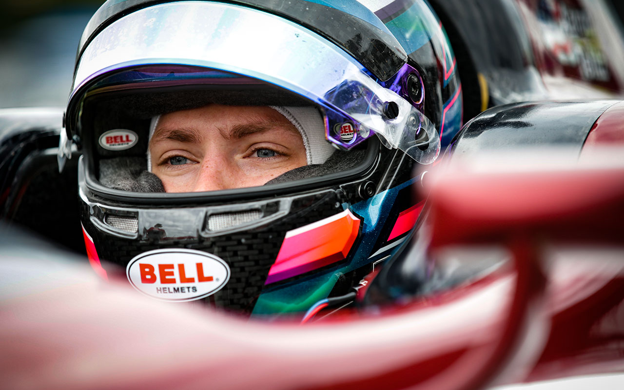 Aaron Telitz in the cockpit of an Indy Lights car in 2017  Photo Courtesy of Indianapolis Motor Speedway Photography