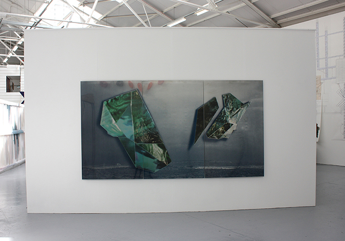 """THE AMAZING ARRIVAL OF THE THING""  Screen print on stainless steel, 300cm x 160cm, 2011"