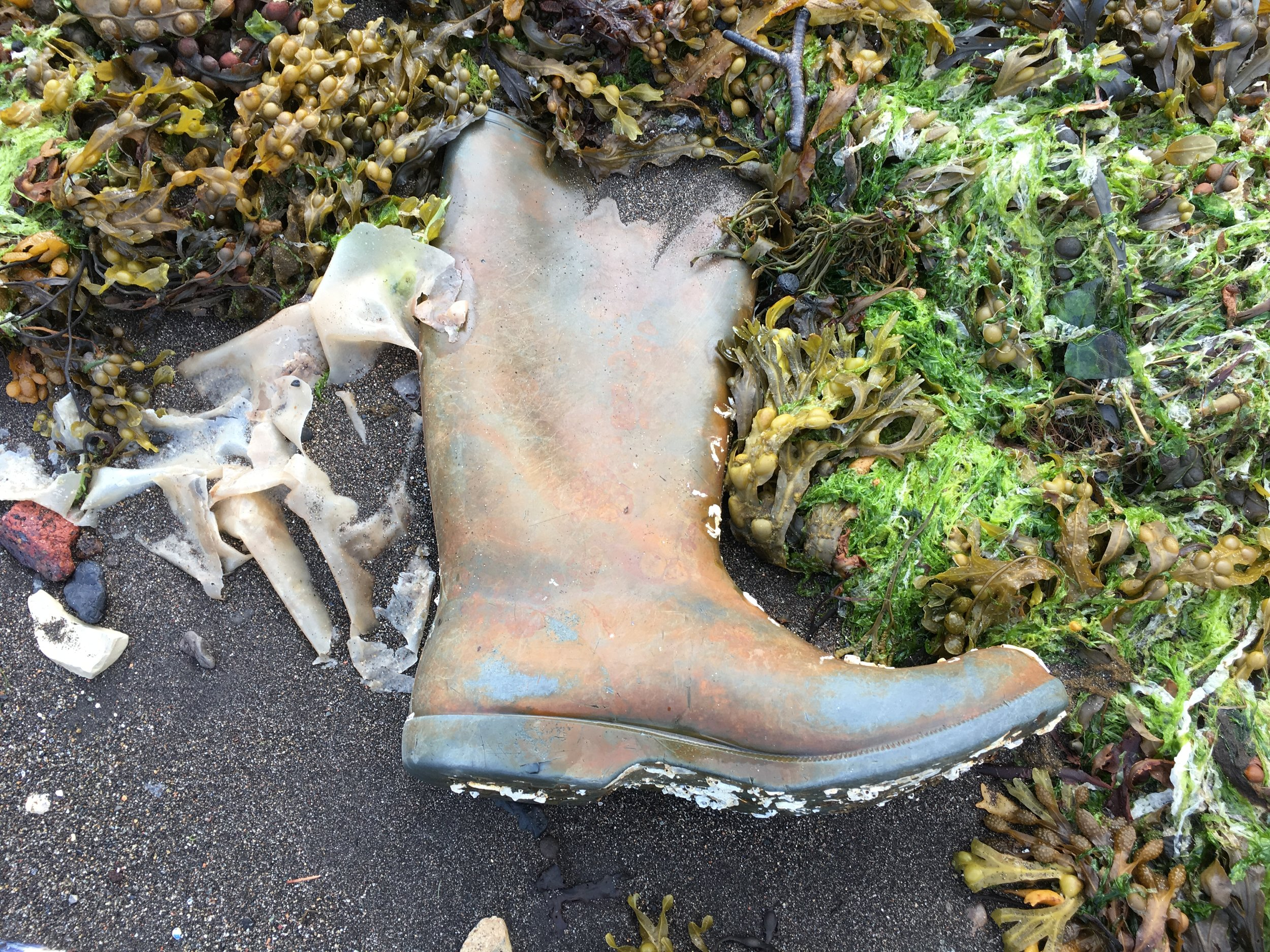 We were fascinated by a lone, welly boot on the shore that first night, wondering about its story. Each day we saw it washing up in a different place until suddenly on our last day it was gone.....