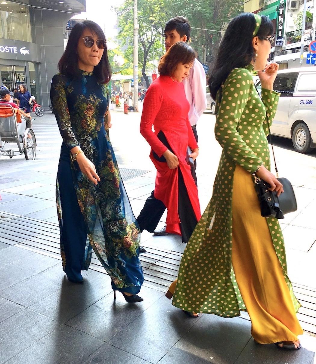 Random ao dai ladies in Ho Chi Minh City. Photo: Patti Neves