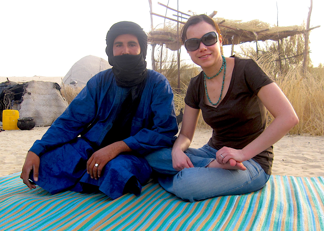 My Tuareg guide and I in the base Sahara camp, North of Timbuktu. Photo: Patti Neves