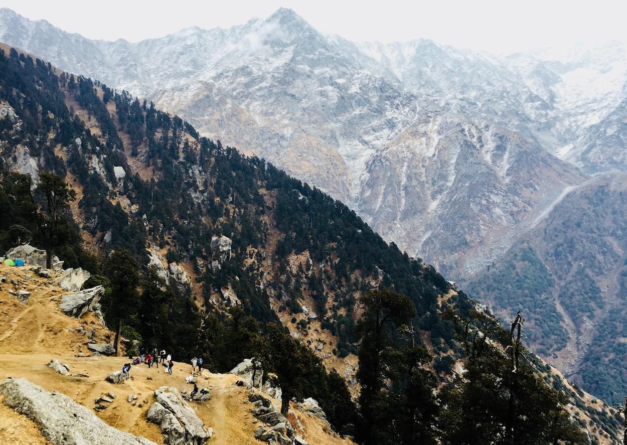 Acampamento no Triund, com os Himalaias no fundo. Foto: Patti Neves