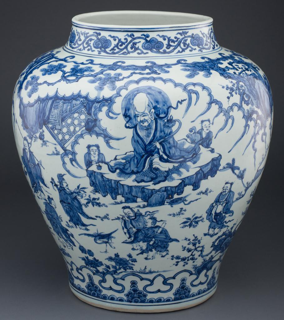 Jarra com os imortais Daoistas. Dinastia Ming (1522-1566), ACM