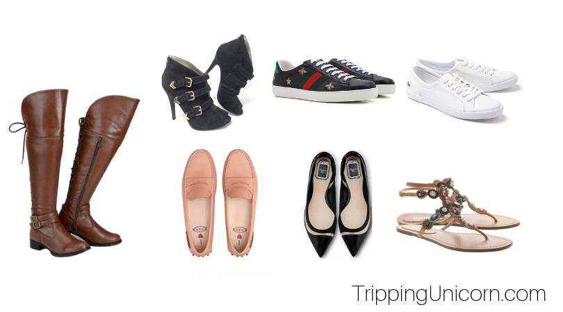 Exemplos de sapatos para levar à Europa