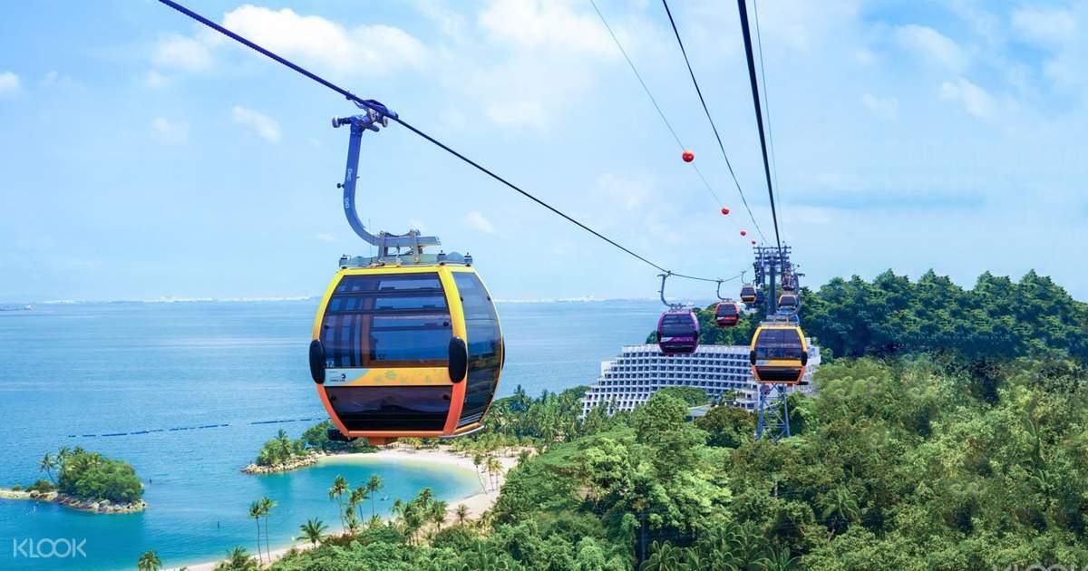 Teleférico de Sentosa - Cable car ligando a ilha de Singapura à ilha de Sentosa.Saídas à partir de Mount Faber ou Harbour Front (você escolhe, o preço é o mesmo)!