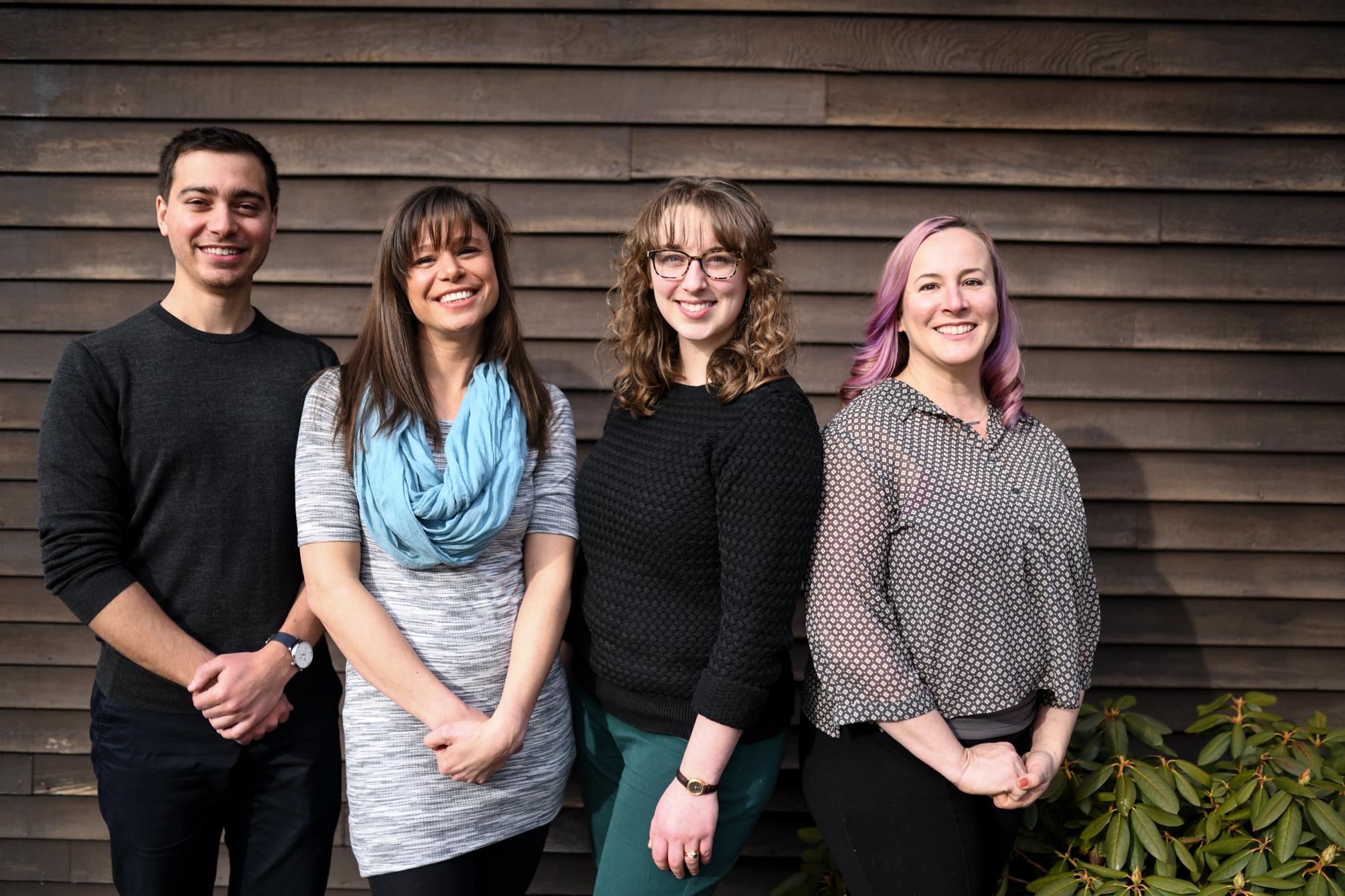From left to right: Jordan Elias, MT-BC, Marissa Scott, MA, MT-BC, CLD, Rebecca Gildea, MT-BC and Serena Duckrow, PhD, ATR-BC, NDD