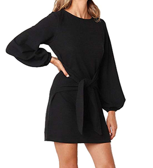 2019-03-05 12_45_33-onlypuff Puff Sleeve Dresses for Women Belted Tie Front Pencil Tunic Dress Casua.png