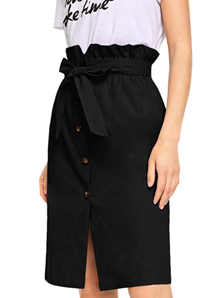 2019-03-05 12_43_05-WDIRARA Women's High Ruffle Waist Belted Knee Length Button Up Skirt at Amazon W.png