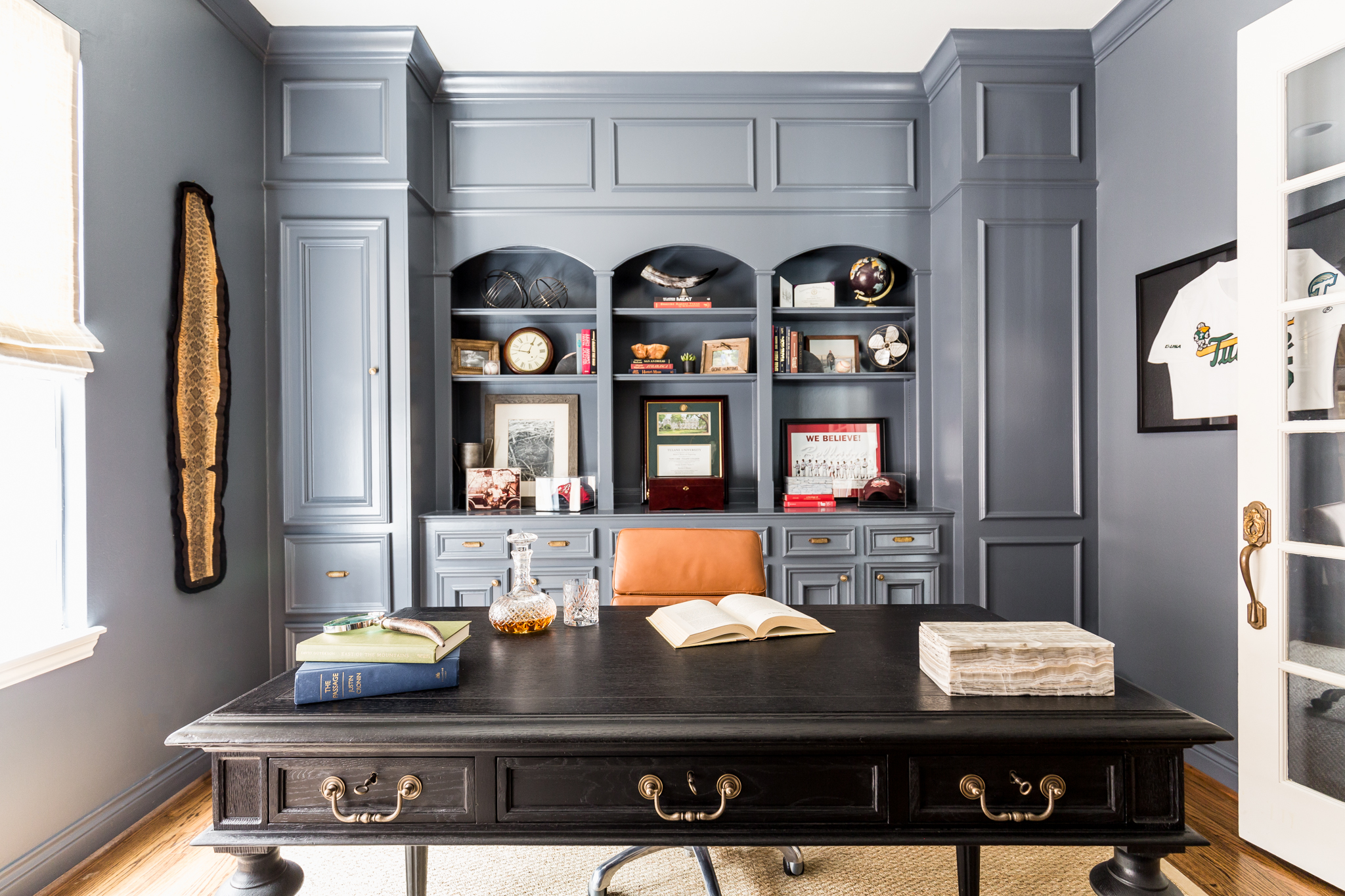 Blue Office with Leather Chair