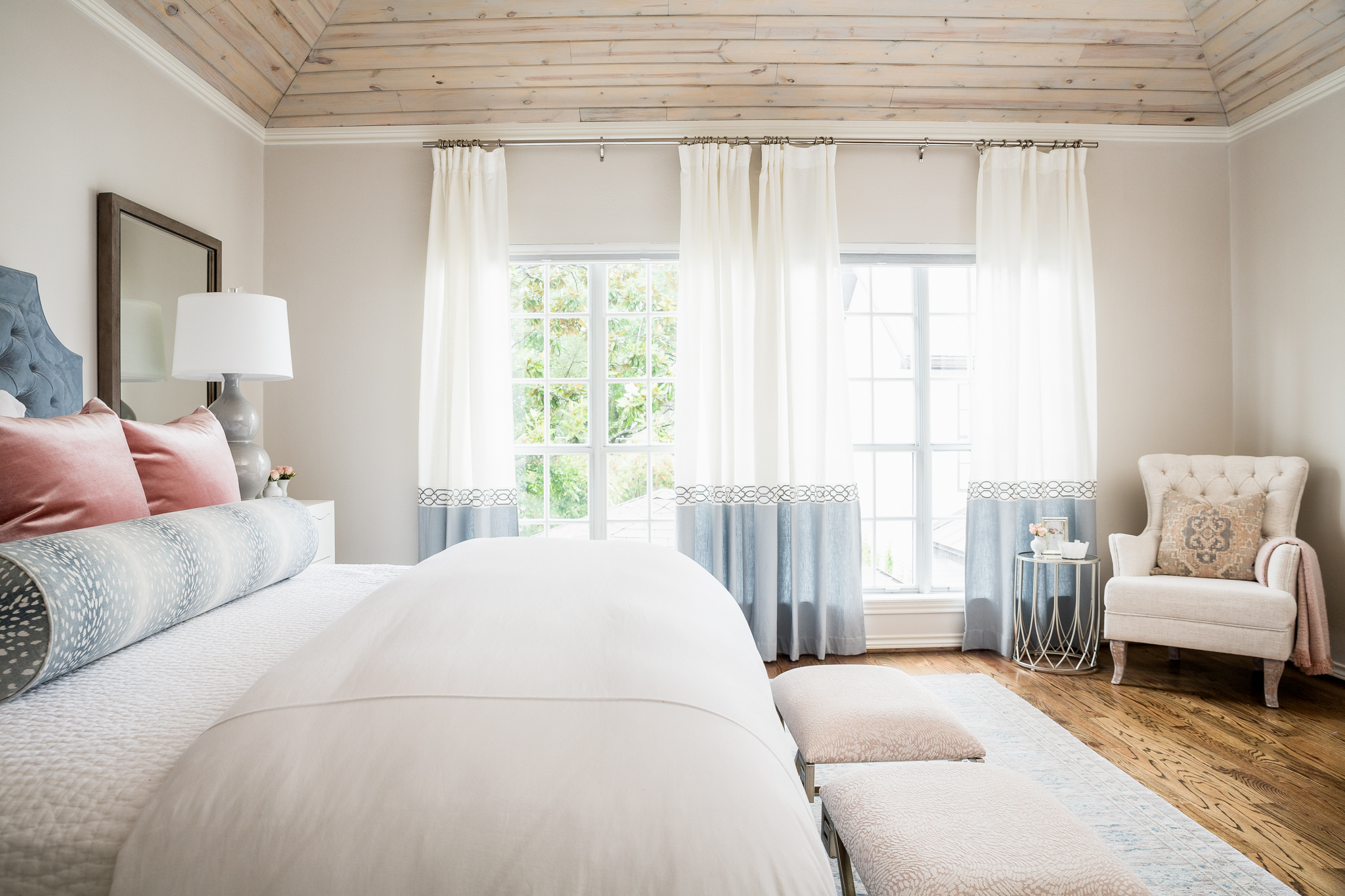 large master bedroom with shiplap ceiling