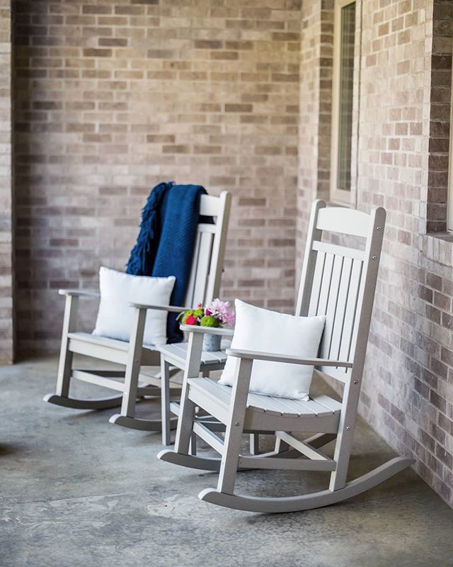 Enjoy the gorgeous summer weather with a pair of rockers! These rockers are customizable! #durogreenoutdoorfurniture #durogreenoutdoor #outdoor #outdoorfurniture #outdoorliving #outdoordecor #design #designinspiration #outdoorinspiration #outdooreveryday #recycled #recycledfurniture #rockingchair #rocker