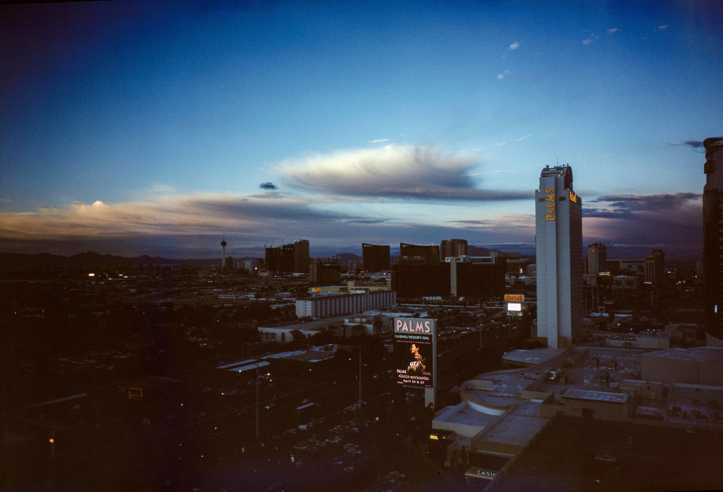 Looking towards the Vegas Strip at dusk  -   shot on Fuji Velvia Color Reversal Film