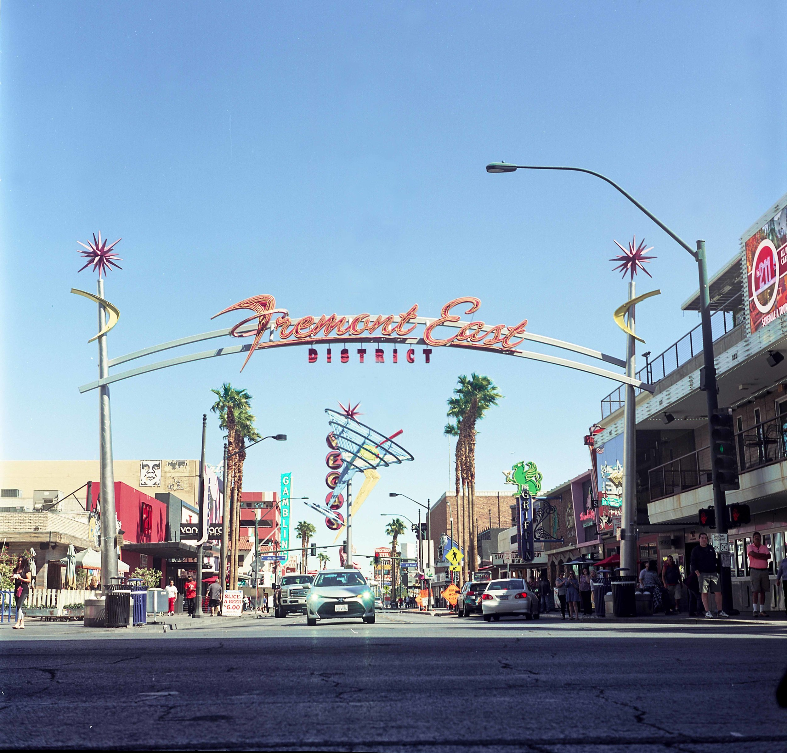 The entrance to Vegas' Fremont Street District! Shot on Kodak Ektrar 100