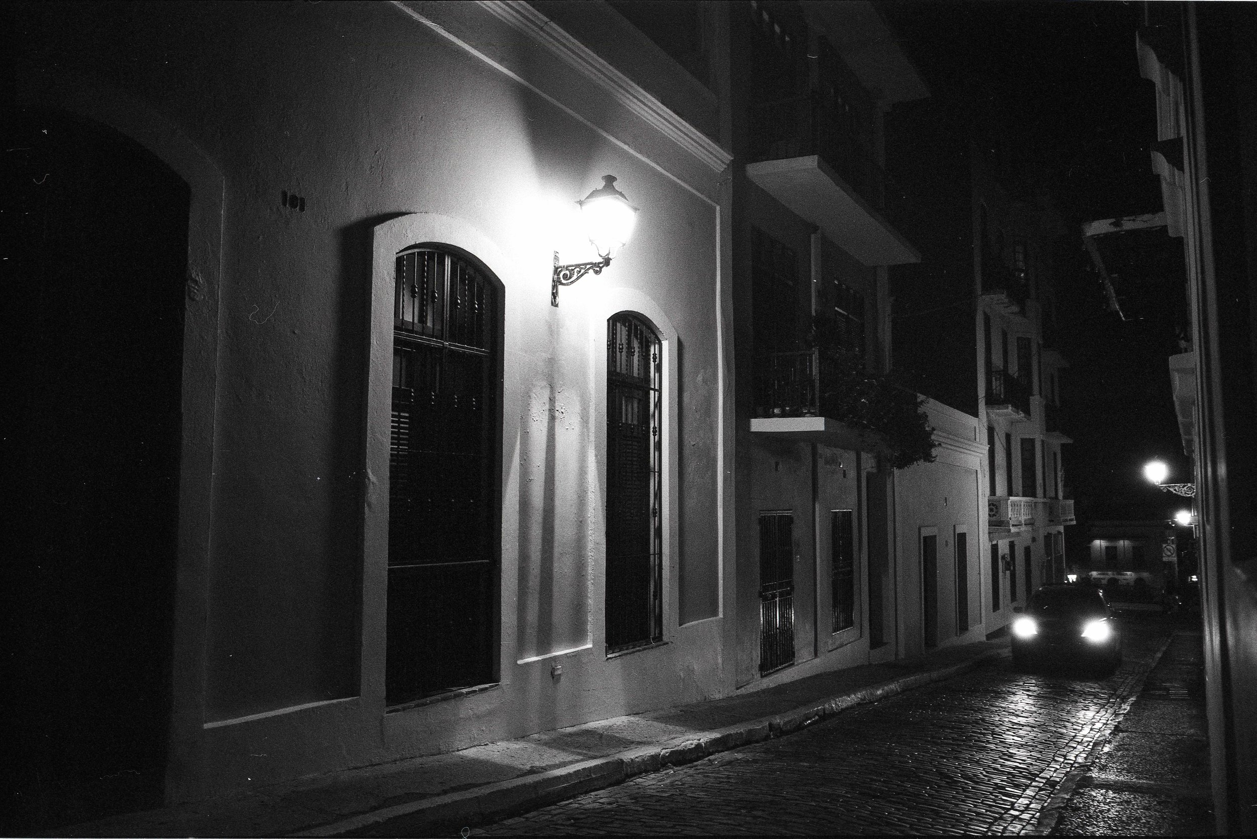 One of the most difficult captures I've ever successfully made without a tripod, A night time view of a street in Old San Juan, Puerto Rico -  Shot on Ilford Delta 3200