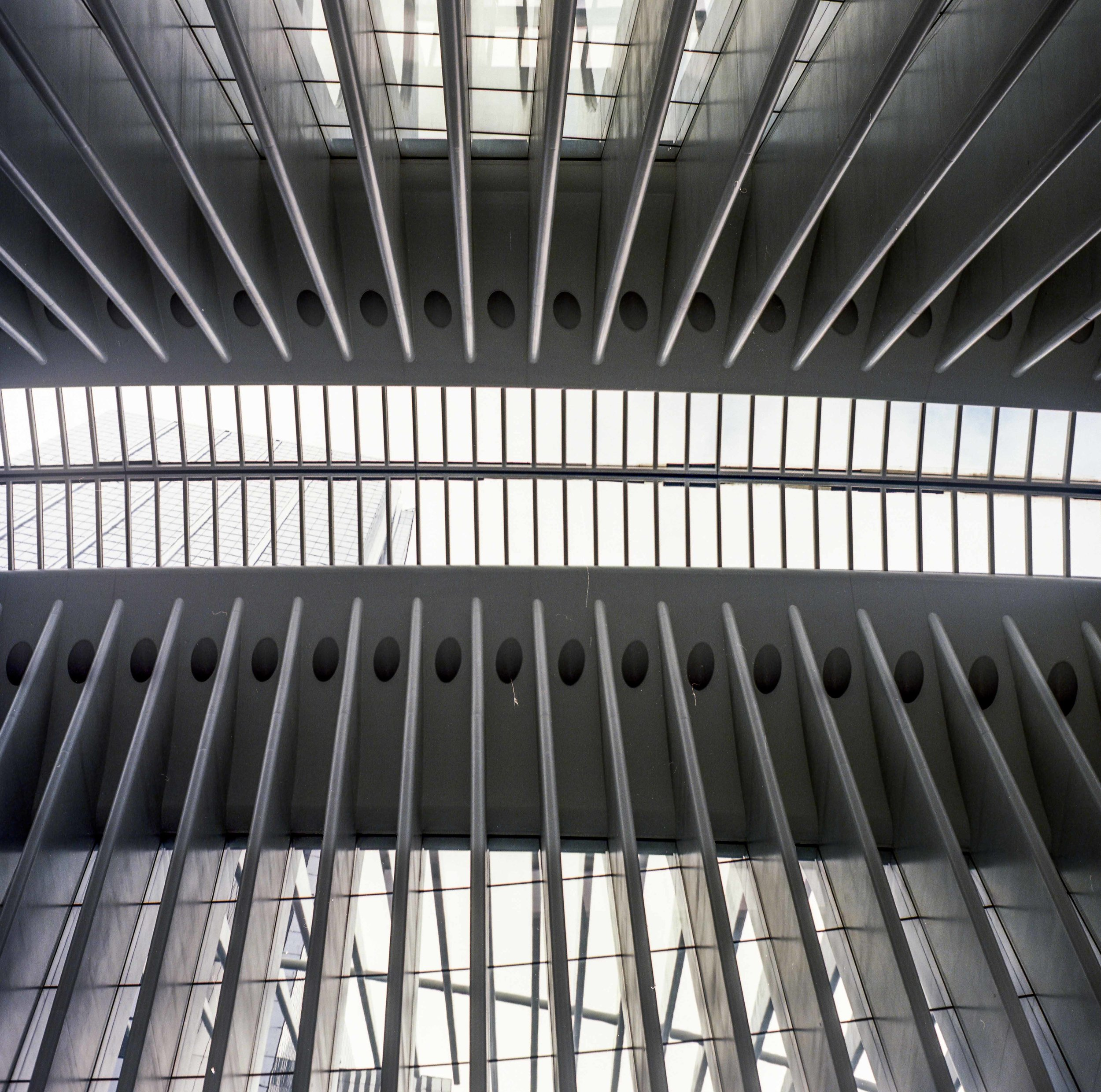 Looking up towards the skylight of the World Trade Center Station in lower Manhattan