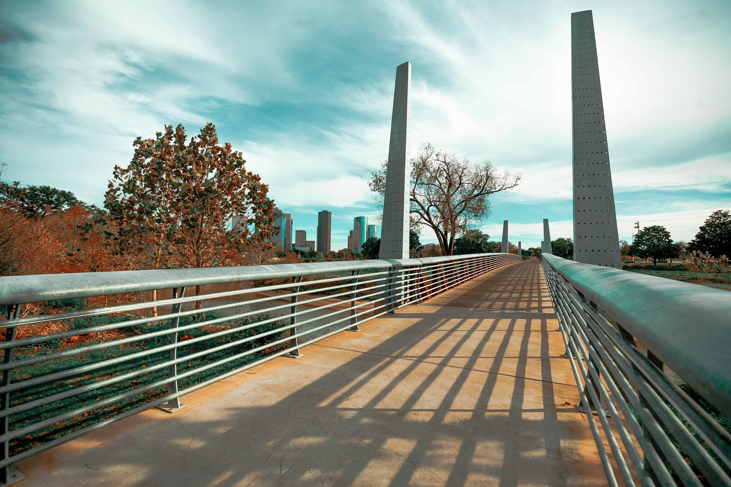 Pedestrian Bridge in Buffalo Bayou Park - Houston 2017