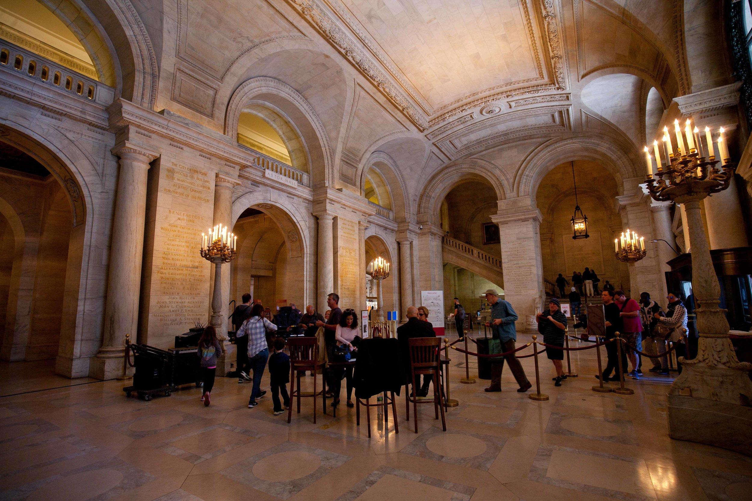 interior of the New York Public Library's Lobby - New York City 2016