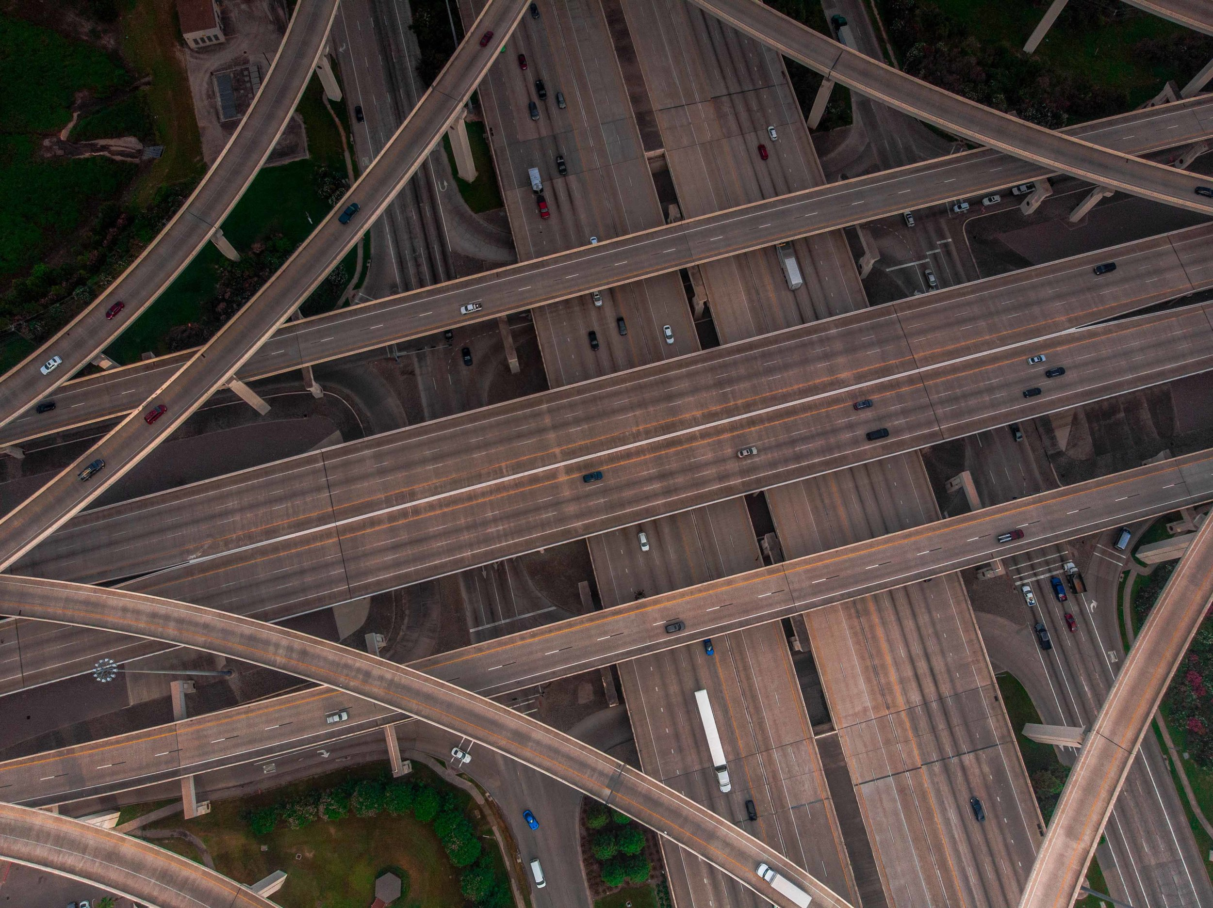 Flying Quickly Above the I-10/Beltway 8 Interchange near Memorial City, Houston, TX | 2018