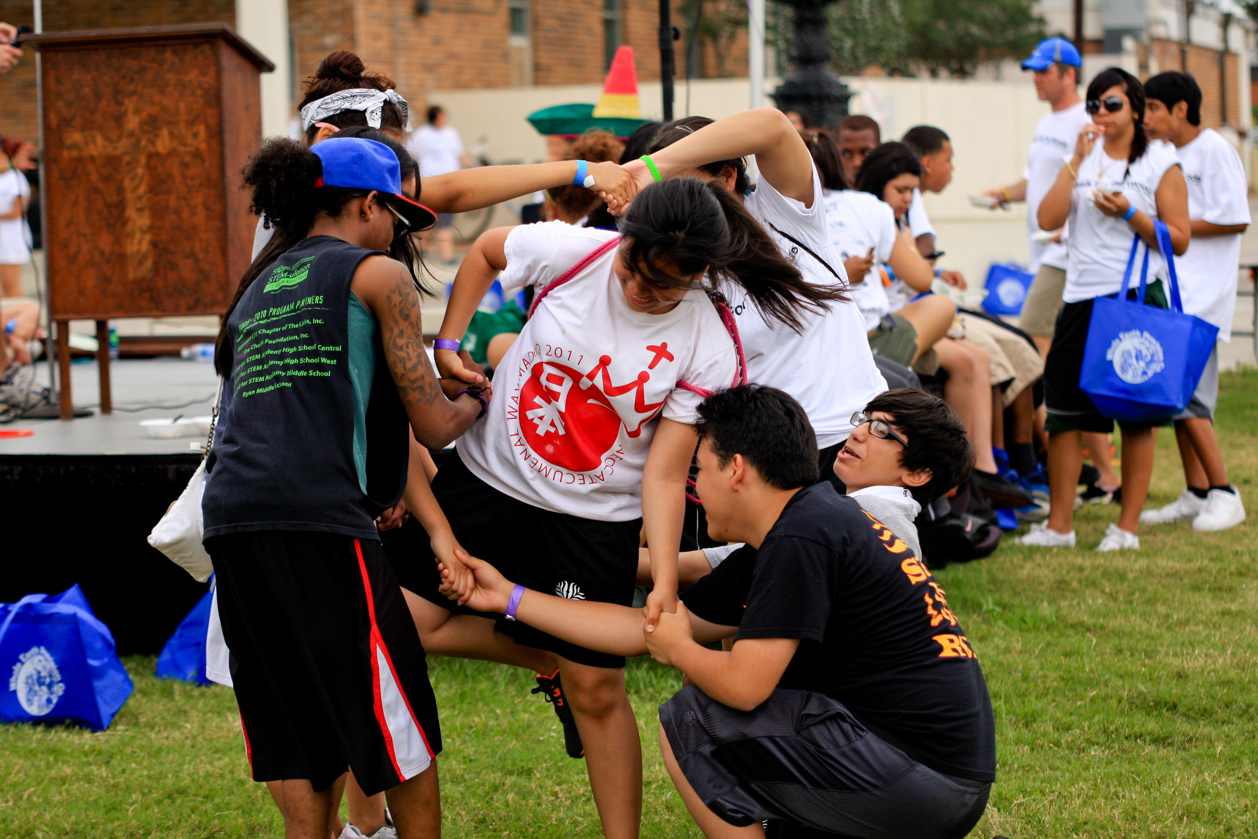 Participants in a Team-building Activity | The Woods Project | 2012