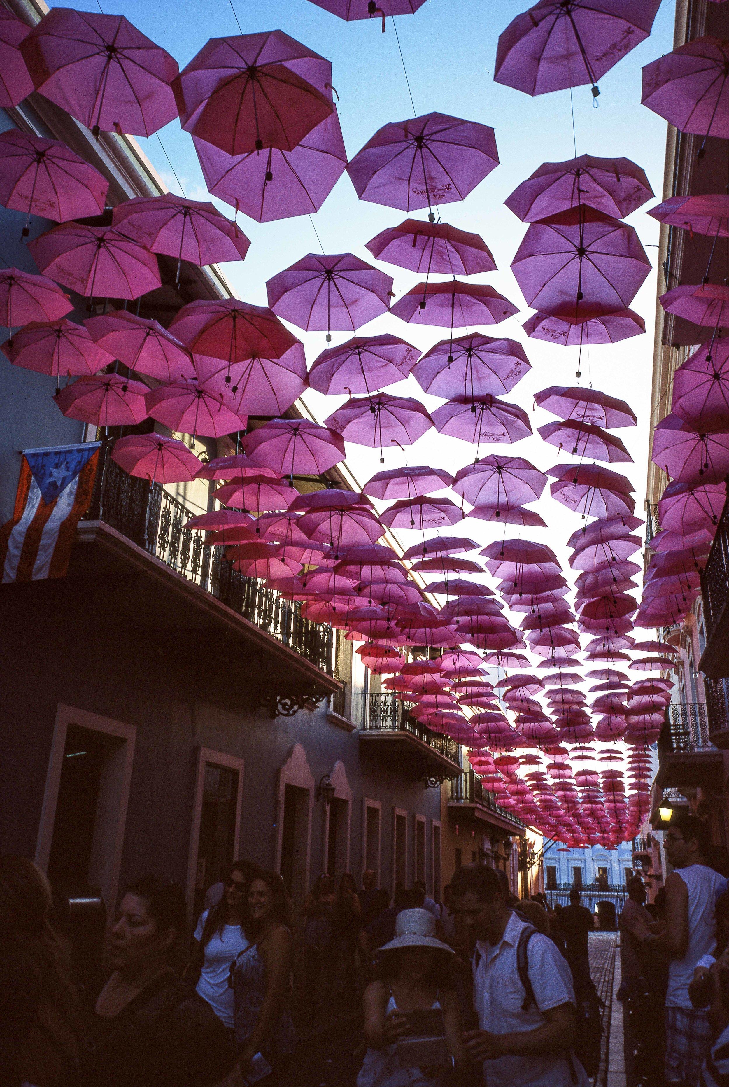 Looking down a street in Old San Juan, Puerto Rico