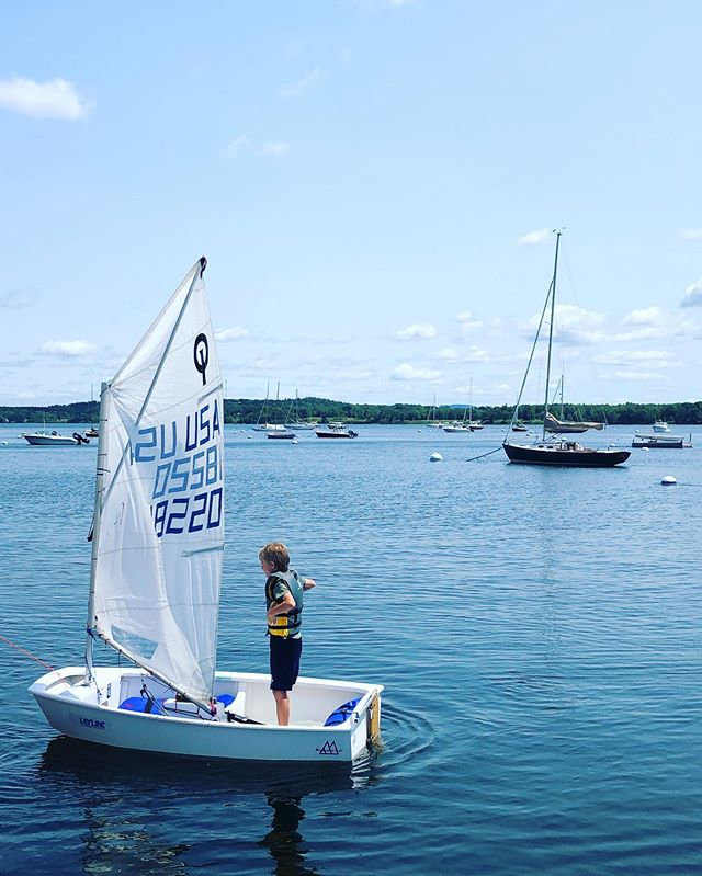 Capsizing tests on the dock today! Proud of this crew. #castineyachtclub #optis #sailing #castine #maine #fearless #coldwater #littleboats