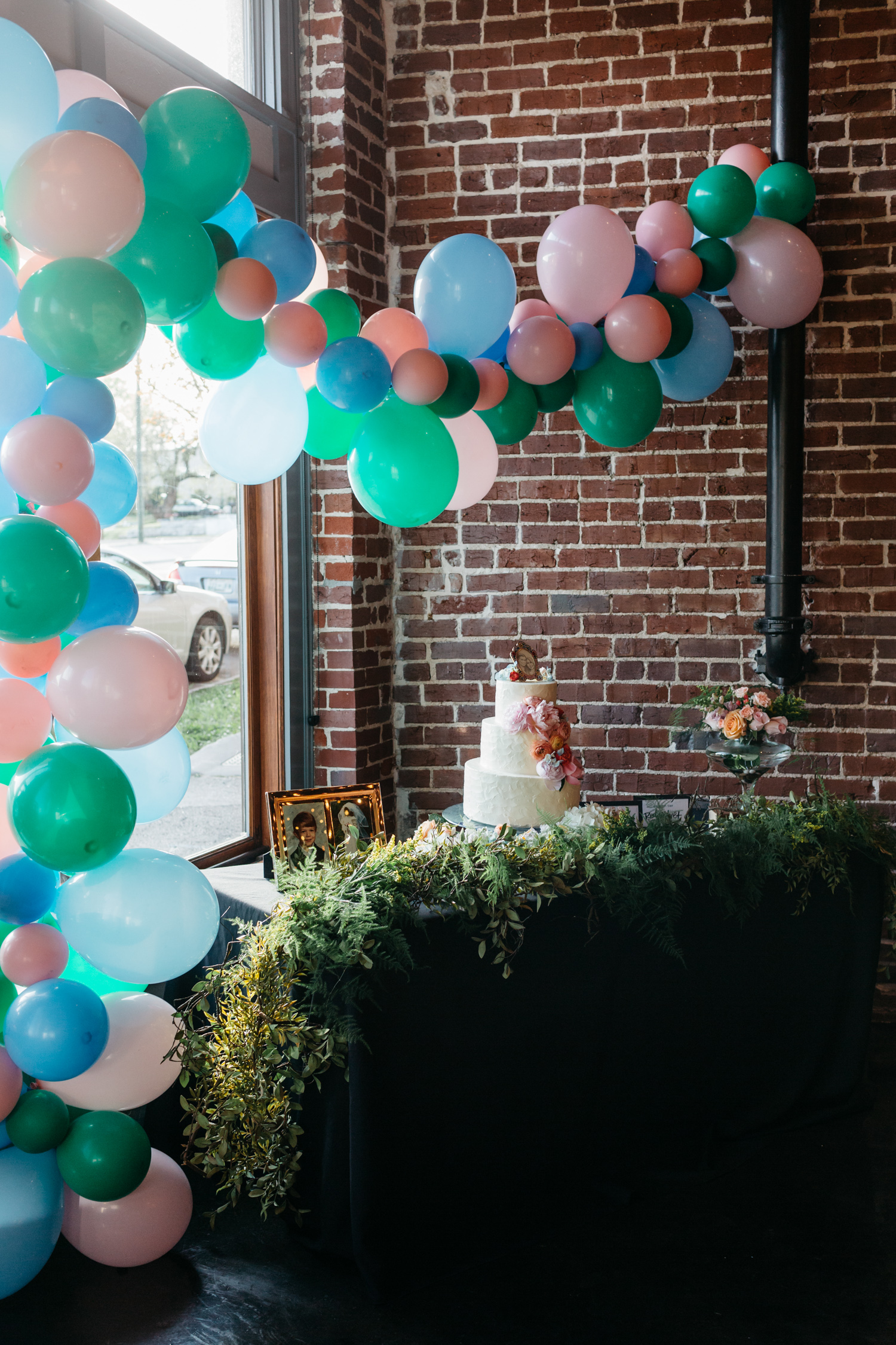 Standard Downtown Knoxville Wedding Venue Central Avenue Happy Holler Exposed Brick Wedding Cake Magpies Balloons