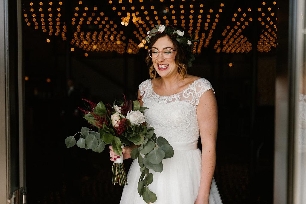 Standard Downtown Knoxville Wedding Venue Bridal Portrait Bistro Lights