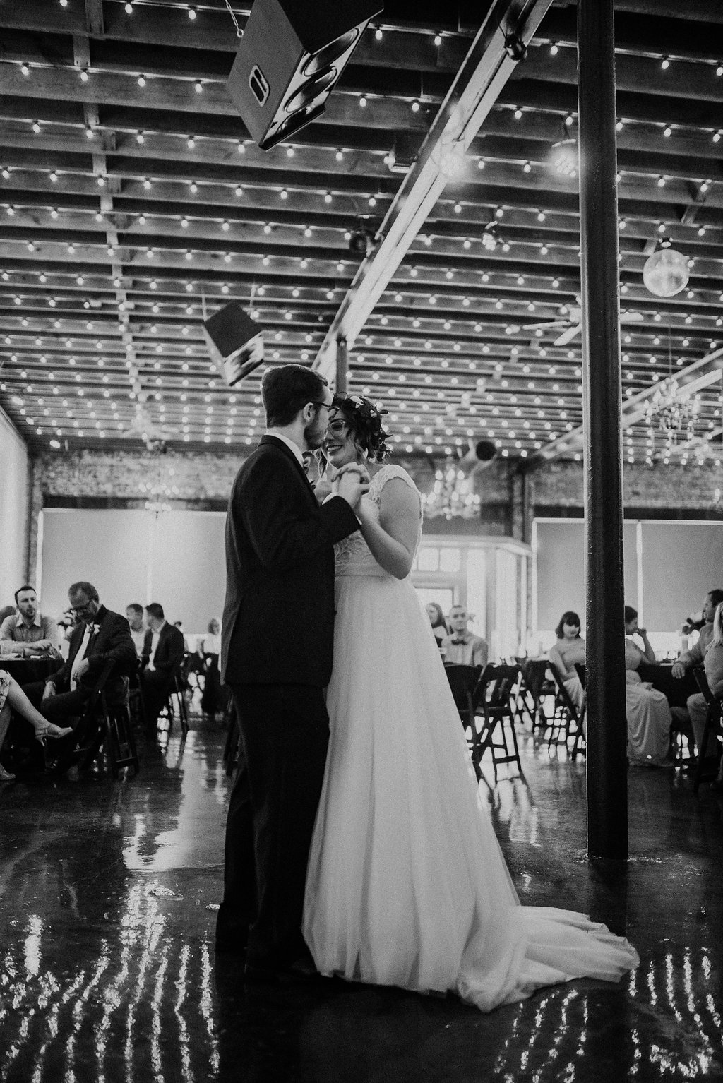 Standard Downtown Knoxville Wedding Venue Bistro Lights First Dance