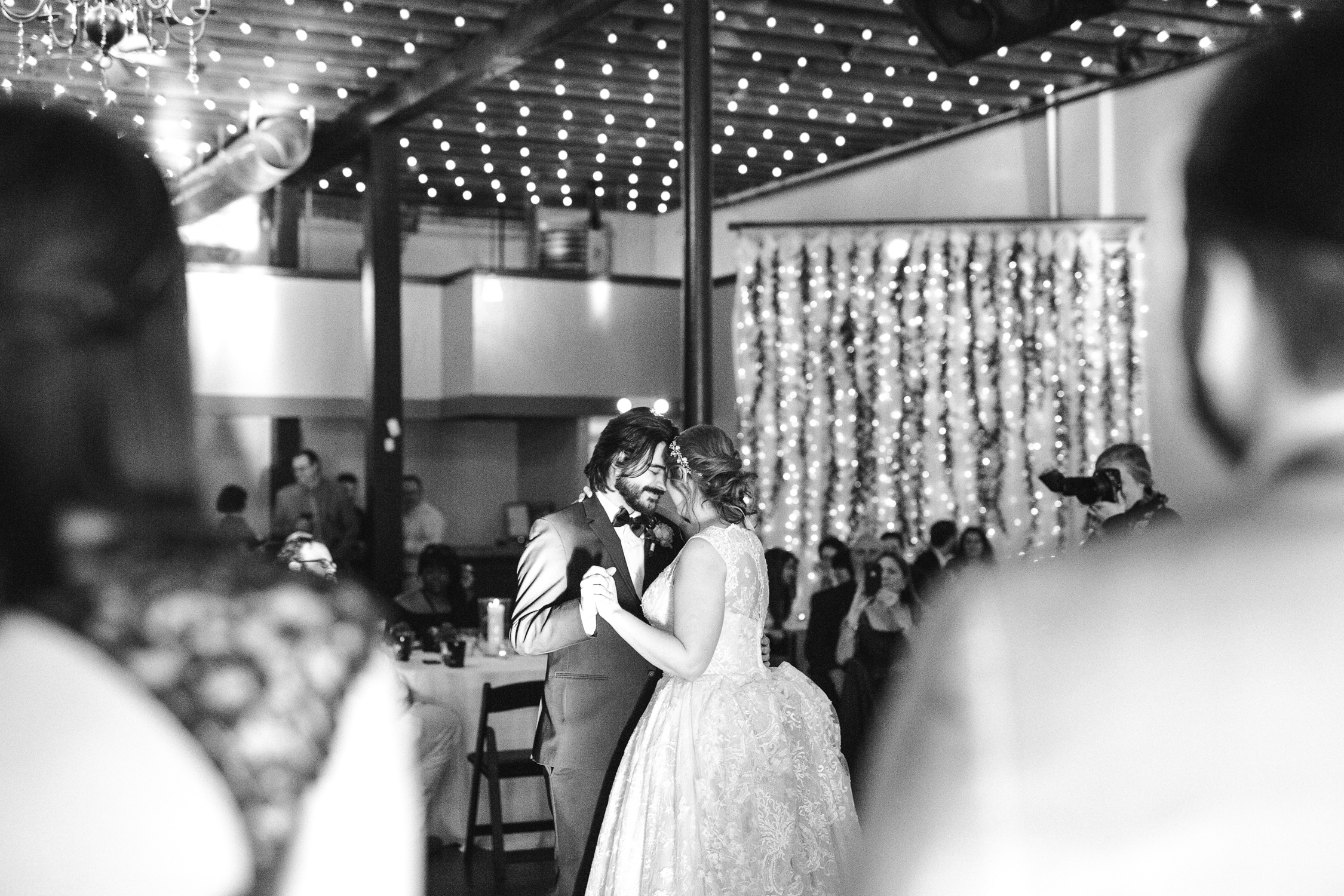 Downtown Knoxville Wedding Venue // Central Avenue Reception // First Dance under the Bistro Lights