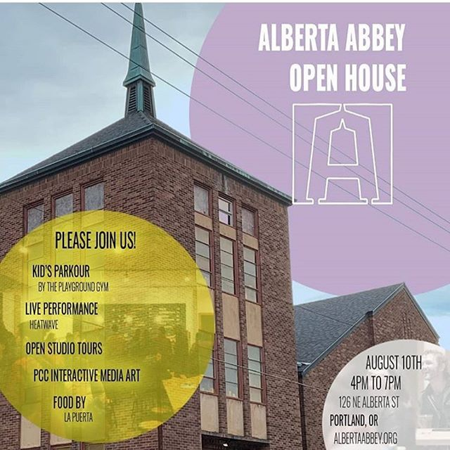 Come to the @albertaabbeypdx open house this Saturday, where you can support their fantastic mission to keep the arts alive and affordable in Portland! Come watch us perform as well for a fun time! 😊🎤🎶 #portland #pdx #performingarts #heatwaveshowband #livemusic #band