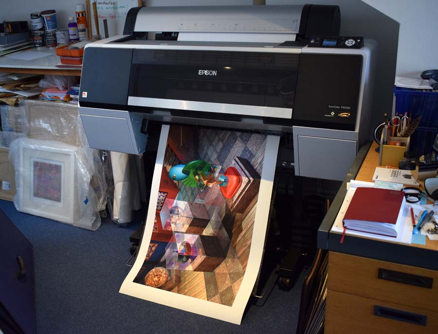 Latest Epson CS P6000 Large format printer in the studio printing off a copy of 'The Mezzanine'.