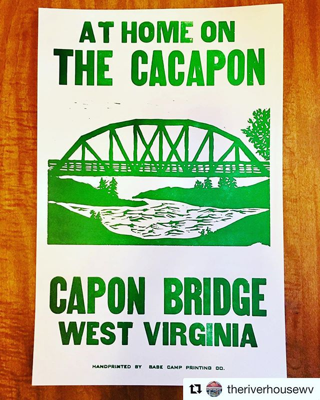 For the month of December, we are offering the awesome hand printed CAPON BRIDGE poster for sale for only $10! . The sale of this poster benefits Capon Bridge Public Library, The River House, Capon Bridge Volunteer Fire Department and the Capon Bridge Volunteer Rescue Squad. . Custom design by Base Camp Printing Company (Elk City, WV) . Pick one up at The River House Cafe- while supplies last! . #theriverhousewv #visitcaponbridge #mywv #gotowv