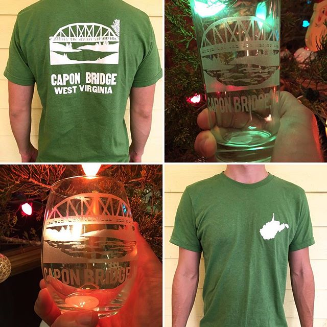 POP UP EVENT this Saturday, December 15th from 10am-3pm . Stop by The River House (@theriverhousewv) to get a Capon Bridge T-Shirt (sizes S-3X), etched wine glass or pint glass . Proceeds of sales benefit local Capon Bridge charities. Shop local this holiday season. See you there! . #visitcaponbridge #westvirginia #mywv #gotowv