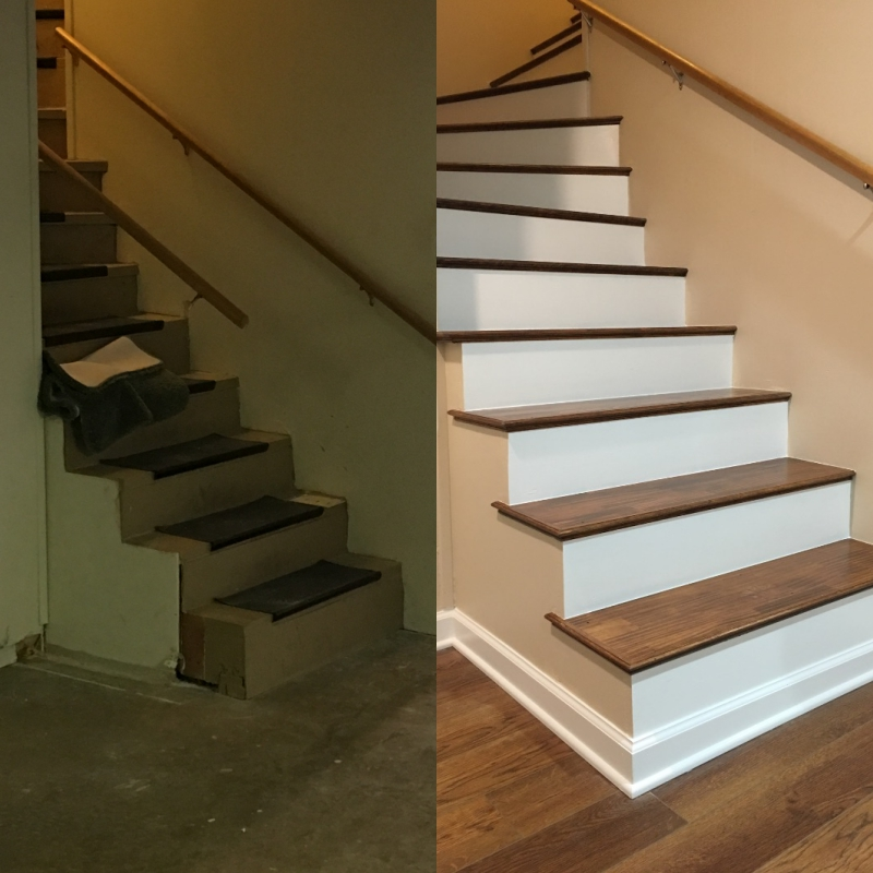 Basement Stairs Before & After