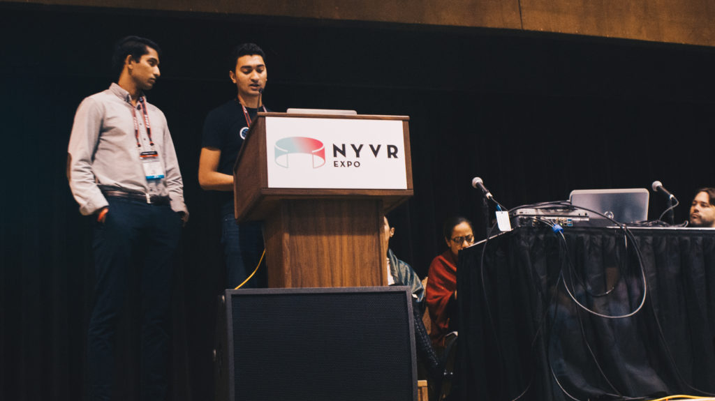 Siddharth Saxena (Oblix, CEO & Product Architect) and Andy Vadapalli (Oblix, Director of Operations and Business Development) speaking in the Startup Pitch Competition.