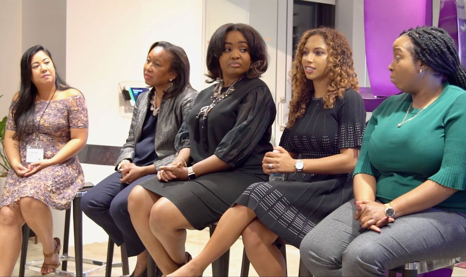From left to right: Frances Melegrito, Diversity & Inclusion Yelp, Rose-Ann Tifre, Account Director of Multi-Cultural Strategy at Pandora, Christen James, COO of Council of Urban Professionals, Angelina Darrisaw Cheeks, CEO & Founder of C-Suite Coach, and Alicia Simmons, Recruiting Manager at Wiley Publishing.