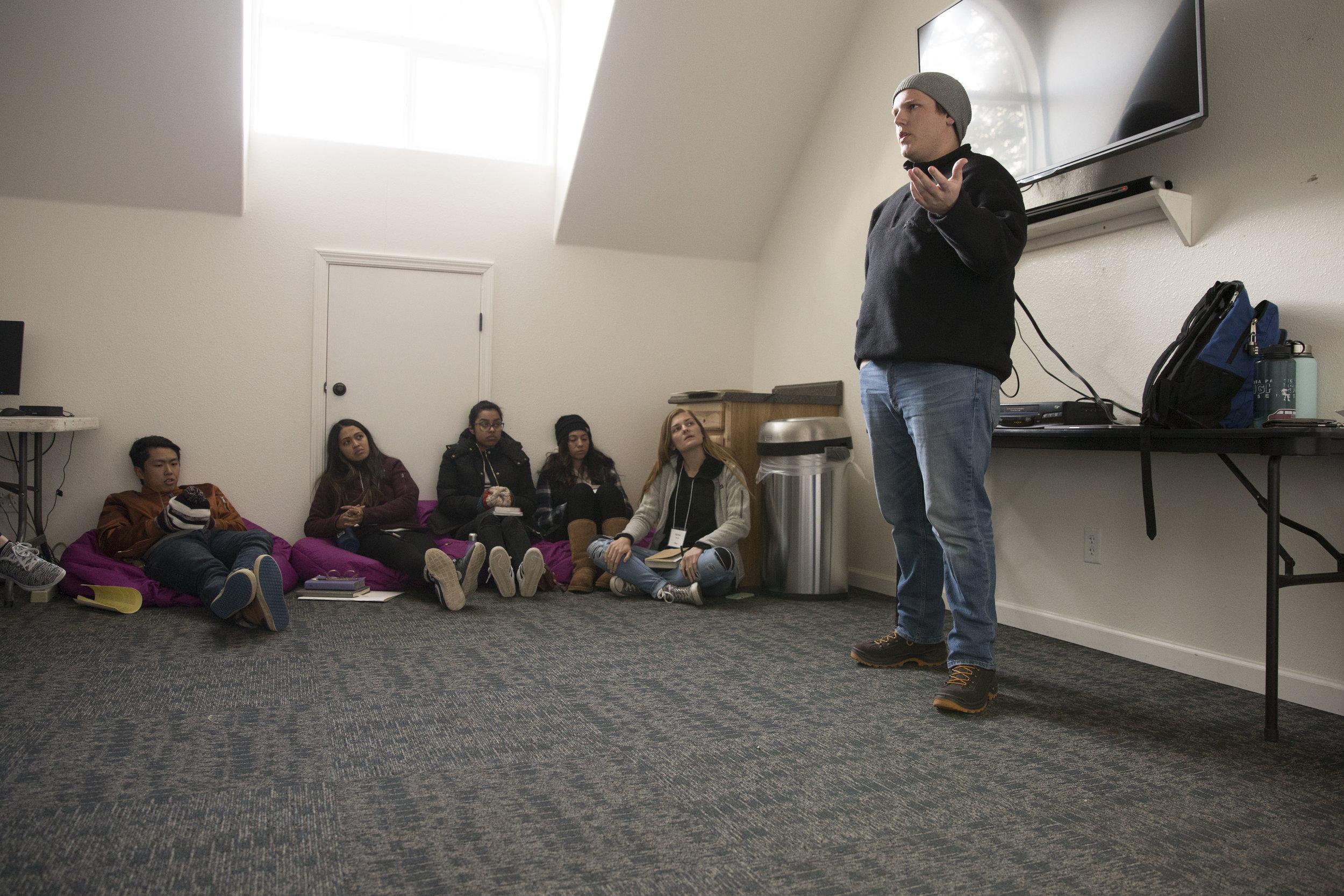 Brian Hamlett leading a workshop on language.