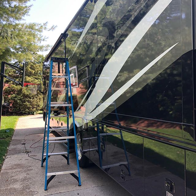 This 40ft RV turned out great! This is the only picture I happened to take while doing it. Call today to setup an appointment to get your RV detailed before she's put away for the winter! (720)822-6324