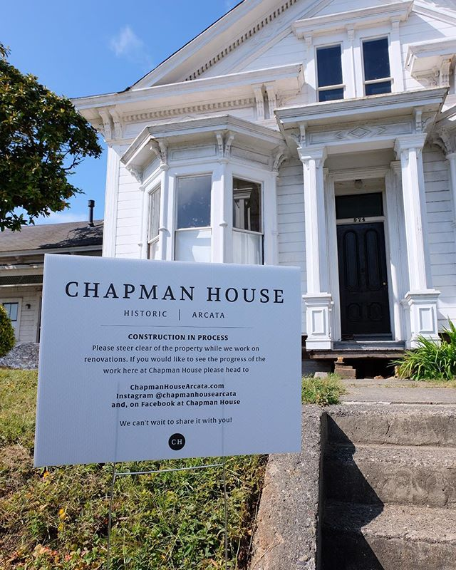 We're feeling kind of official with our fancy but temporary sign! 🙌 stay tuned here to see all the updates at Chapman House!