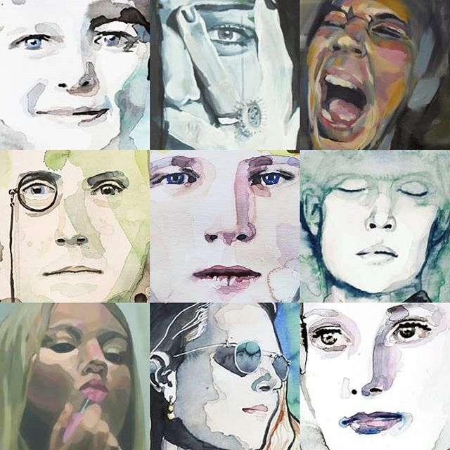 I'm joining the challenge. Which is your favourite?  #faceyourartchallenge #faceyourart #watercolor #acrylic #faceyourart2019 #portrait #retrato #portrett #illustration