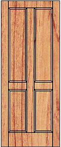 Solid four panel with veneer panels. Suitable or internal use
