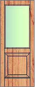 Solid bottom fielded panel top glass. Suitable for external use