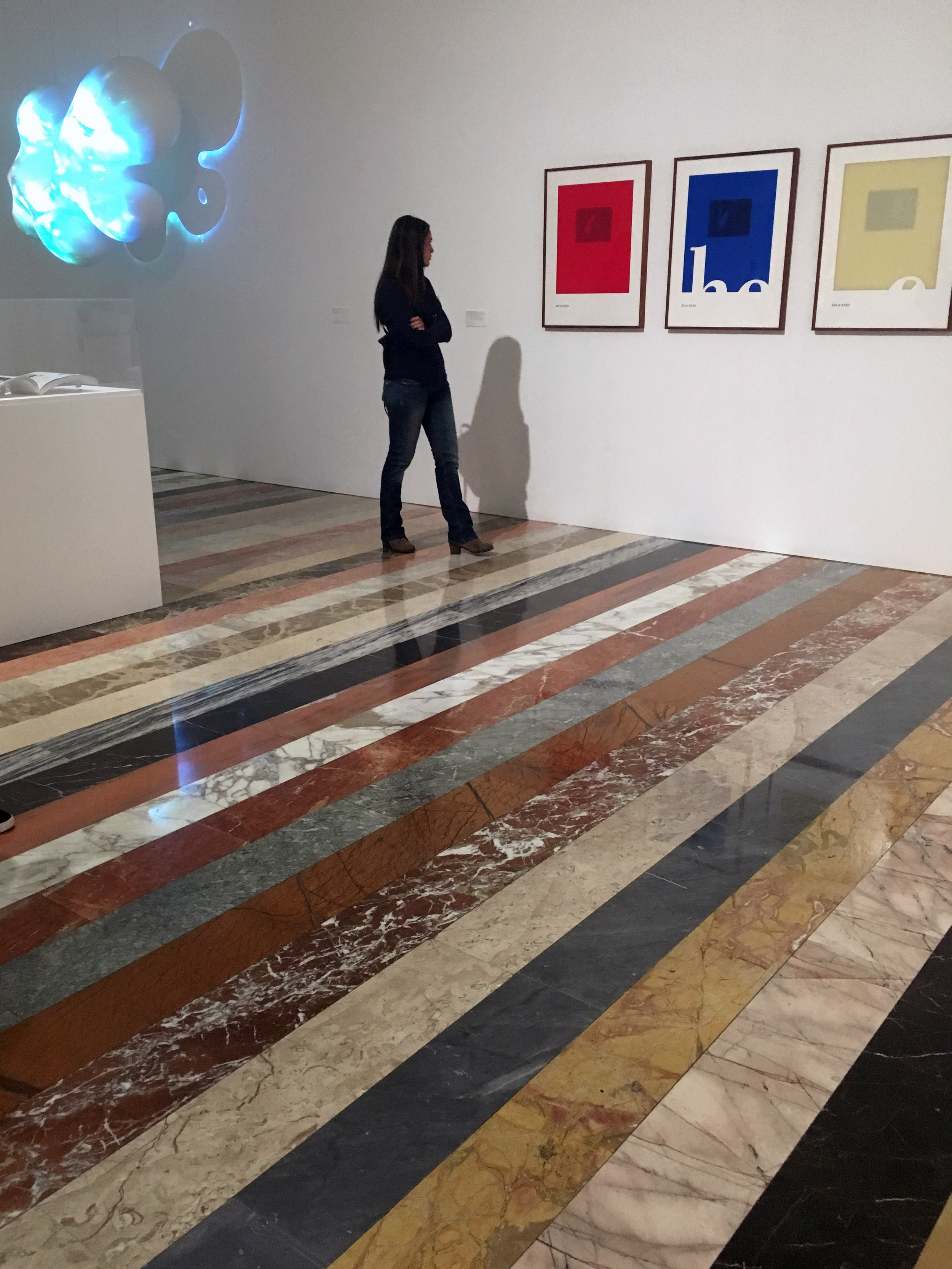 The floor of the basement at the Jumex.